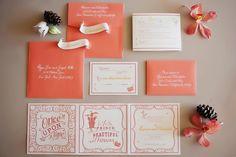 Peach love story invitation. Tinywater Photography