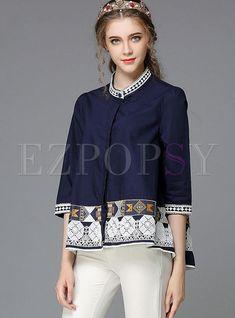 Shop Autumn Stand Collar Three-Quarter Sleeve Embroidery Blouse at EZPOPSY. Blouse Batik, Batik Dress, Batik Fashion, Ethnic Fashion, Fashion Wear, Fashion Outfits, Kawaii Fashion, Ladies Dress Design, Blouse Designs