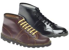 i want!! New Grafters Retro Treaded Sole Leather Monkey Boots Black / Wine £39.99