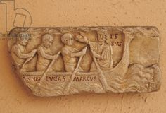 Early Christian art. Relief. Relief depicting Jesus in a boat with John, Luke and Mark. coming from a sarcophagus. 4th AD. Original in the Vatican Museums. Plaster copy in Museum of Roman Civilization. Rome. Italy.
