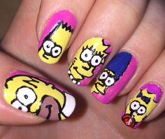 The Simpsons nails. Homer Bart Lisa Marge Maggie nail art.