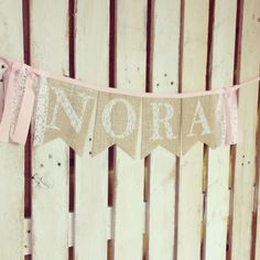 Girl Name Lace Custom Bunting Banner SILVER Burlap, Pink Trim, First Birthday Party, Playroom Decoration, Nursery, Baby Shower or Photo Prop by MsRogersNeighborhood on Etsy https://www.etsy.com/listing/226226712/girl-name-lace-custom-bunting-banner