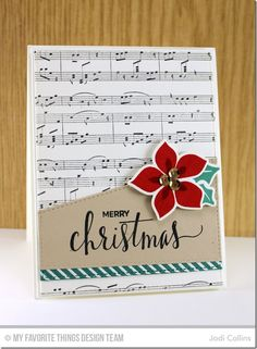 Handmade card from Jodi Collins featuring Hand Lettered Holiday stamp set, Winter Warmth stamp set and Die-namics, Diagonal Stripes and Sheet Music Background stamps, Stitched Basic Edges Die-namics Poinsettia Cards, Christmas Poinsettia, Holiday Cards, Christmas Cards, Merry Christmas, Handmade Christmas, Sweet Sundays, Winter Cards, Fall Cards