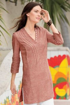 Cotton tunics - Air Of Spring Linen Cotton Tunic Exceptional Casual Clothing for Men & Women from TerritoryAhead Neck Designs For Suits, Sleeves Designs For Dresses, Dress Neck Designs, Blouse Designs, Short Kurti Designs, Salwar Designs, Kurta Designs Women, Plain Kurti Designs, Designer Kurtis