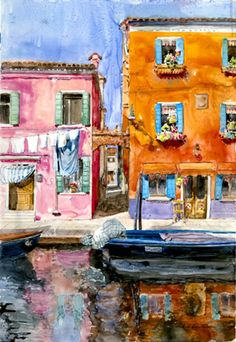 """Italian Colors (Burano) by Helen Beacham, watercolor on translucent Yupo, 27″ x 21″ 