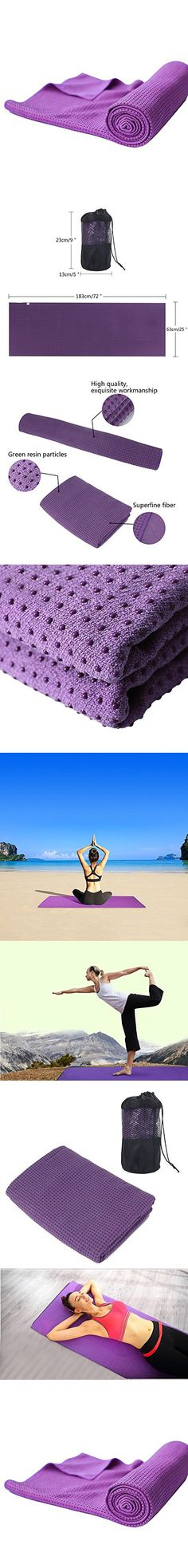 Umiwe Non Slip Hot Yoga Mat Towel with Silicone Beads - Ultra Absorbent Microfiber & Extra Firm Grip - for Hot Yoga Pilates Workout Exercise, Purple