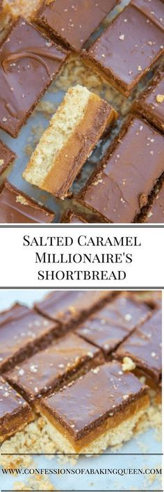 Buttery Shortbread Crust, topped with Salted Caramel, finished with chocolate and sprinkle of sea salt, this Salted Millionaire's Shortbread Recipe is the Best! Perfect for a bake sale or your next party! #cbqbakes #saltedcaramel #shortbreadbars #dessertrecipe #confessionsofabakingqueen