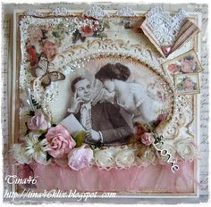 Love is in the Air ~ Beautifully embellished Victorian style heritage page with pearl studded frame and lace edging.