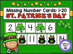 Missing Number Cards: St. Patrick's Day (Numbers 1-20) ($)