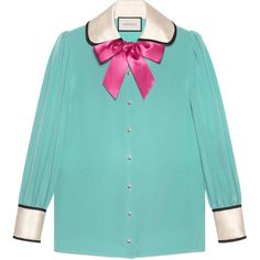 Gucci Contrast Silk Shirt With Bow (£970) ❤ liked on Polyvore featuring tops, shirts, blouses, gucci, turquoise, gucci top, silk top, bow top, blue shirt and blue silk top