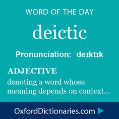 Word of the Day: Deictic - Pronunciation: 'deiktik - (adj) denoting a word whose meaning depends on context...very fitting in this age of political correctness.