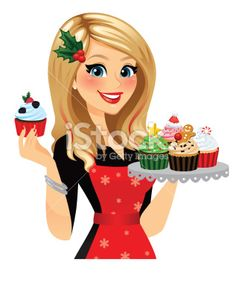A festive baker with her freshly made holiday cupcakes! Single cupcake and cupcake tray removable in Ai . Red hair streaks, apron, snowflakes, holly hair clip, all removable in Ai. Cute Girl Drawing, Cartoon Girl Drawing, Girl Cartoon, Red Hair Streaks, Cake Logo Design, Digital Paper Free, London Poster, Holiday Cupcakes, Pretty Cupcakes