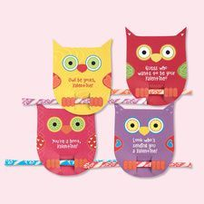 "63. Owl gift tag = Look ""hoo's"" sending you a Valentine. (Pixie stix, pencil, pen, etc.)"
