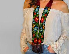 Seed Beaded Necklace Gerdan Bead Necklace Ukrainian Boho Gipsy Jewelry Handmade Gift Long Vyshyvanka Traditional -Night Wildflowers Gerdan
