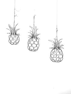 Handmade Mini Wire Pineapple Sculpture by CharestStudios on Etsy