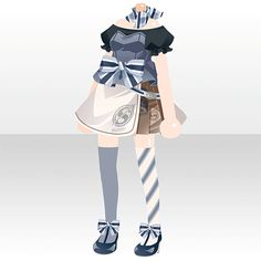 Petit Repos|@games -アットゲームズ- Fashion Line, Girl Fashion, Fashion Outfits, Fashion Design, Chibi, Anime Outfits, Cool Outfits, Waitress Outfit, Anime Dress