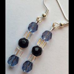 Beaded Earrings - NEW LISTING Beaded earrings with blue , black & clear. Jewelry Earrings