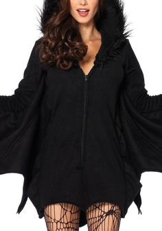 This black velvet bat romper costume is a non-stretchable piece with front zipper, a hood with full black fur and ear detailing.   Lookbook Store Jumpsuits and Rompers