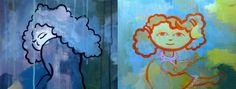 Sulkeutunut ja avoin, hahmomaalaukset eri pohjille. Mietittiin ensin taustaa tehdessä millainen on avoin ja hengittävä pinta ja tila ja millainen sulkeutunut. Maalattiin pohja akryyliväreillä pasksusti puristetulle sellulle Etsittiin taustasta tai mielikuvituksesta hahmo ja haettiin teemalle hahmon asennolla, sijainnilla jne. vahvistusta.