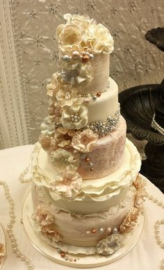 ruffle an pearl vintage wedding cakes x - by kaykes @ CakesDecor.com - cake decorating website