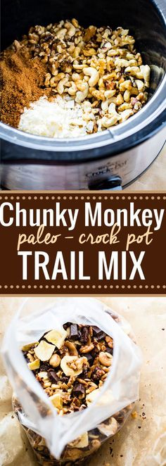 A healthy gluten free trail mix that will definitely give you energy, whether actually on a trail or snacking on the go! This chunky monkey paleo trail mix is one that you can make easy in the crockpot and you can make lots of it. Get ready to munch on a handful mix of nuts, coconut, dark chocolate fudge chips, banana chips, and more! Use coconut oil to make it vegan!