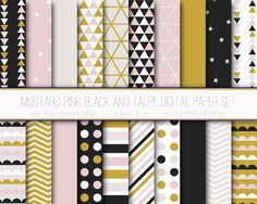 Free Digital Paper: Mustard and Pink