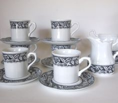 Vintage J Meakin Sterling Renaissance English Ironstone Set of 6 Cups and Saucers with Cream and Sugar - 16 pcs - England - Circa 1970  by HouseofLucien, $56.00