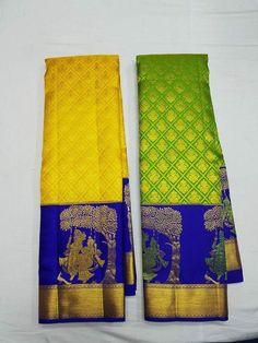 Saree Design Patterns, Sari Blouse Designs, Saree Color Combinations, Designer Silk Sarees, Half Saree, Indian Sarees, Dressings, Bridal, Beads