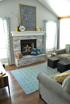 White Wash Brick Fireplace Before And After Fire Places