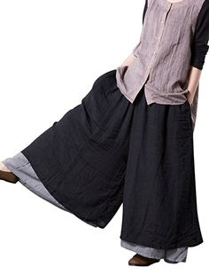 Women's Casual Black & Gray Double Layer Loose Fit Wide Leg Cotton Chinese Pirate Pants by Mordenmiss