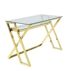 Halton Glass Computer Desk In Clear With Gold Plated Steel Base