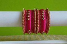 Indian Silk Thread Bangles • 14 Hot pink & Gold Indian Wedding Bangle Set • Sari Bangle • Indian Silk Jewelry • Bridesmaid gift • Wedding favor Accessorize your outfits with hand woven silk thread bangles matching your dress. This also works good for baby shower or bridal shower