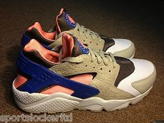 Nike Air Huarache Grey/Blue-Pink OG Last Shot All Sizes 318429 046 SportsLocker