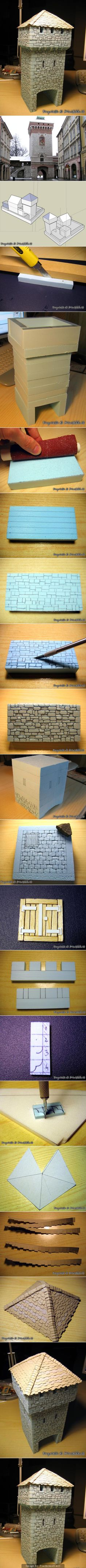 Nice step by step illustration of building simple fantasy architecture from foam.