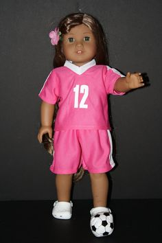 """Red Soccer Outfit Short Set Fits 18/"""" American Girl or Boy Doll Clothes"""