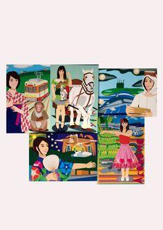 2014年夏季新作の、ポストカード5枚セット。左上より、「Matsuyama」「Yufuin」「Ise Shima」。左下は、「Atami」「Atagawa」... ハンドメイド、手作り、手仕事品の通販・販売・購入ならCreema。