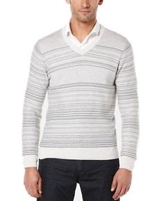 Perry Ellis NEW Oatmeal Heather Gray Mens Size 2XL V-Neck Sweater $89 025