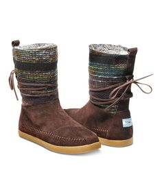 TOMS Brown Wool Stripe Nepal Boots