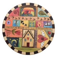 """20"""" Lazy Susan- Colorful and unique lazy susan with block icon symbols and black and white checked border"""