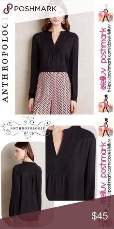 """🌿ANTHRO🌿HD in Paris Telma blouse NWOT, never worn or tried on. 💐 Anthro """"HD in Paris"""" brand , Telma black long sleeve blouse with beautiful neckline detail. 💐 No stretch, sheer, high-low hem. 💐 Polyester, pullover style. 💐 Machine wash, imported. 💐 Approx. length 29""""L. 💐 Pic. 1 and 2 are stock, Pic. 3 and 4. are actual blouse for sale. 💐 2-button cuff detail, see last pic. (so cute!❤️) MSRP $89. Line across tag to prevent store returns.  🚫No trades🚭Smoke-free 🐶Pet-friendly…"""