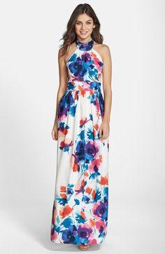 Eliza J Floral Print Halter Maxi Dress available at #Nordstrom