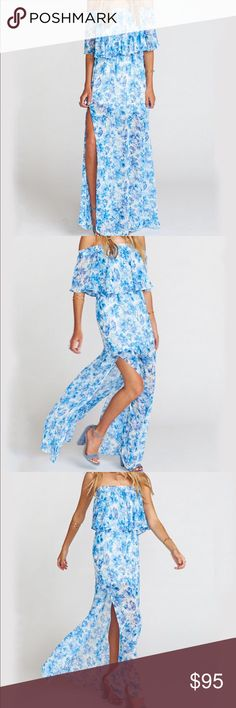 Off shoulder floral maxi dress / show me your mumu Purchased this hacienda maxi dress by show me your mumu for my baby shower and never wore it! Too long and didn't have time for a hem! New with tags! Beautiful blue floral print and off the shoulder Show Me Your MuMu Dresses Maxi