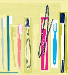 Stock Illustration : Row of different toothbrushes