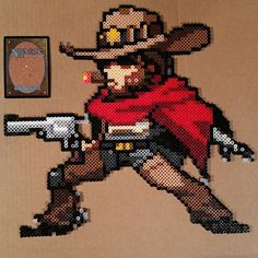 McCree from Overwatch Perler Pixel Spray (Beadsprite)