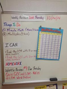 Artifact 1.13 - Agenda, student learning goals, homework, and important dates written on board