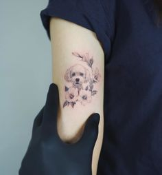 The 14 Best Poodle Dog Tattoo Ideas Page 2 of 3 PetPress Small Dog Tattoos, Mini Tattoos, New Tattoos, Tattoos For Guys, Tattoos For Women, Cool Tattoos, Tatoos, Tattoos Of Dogs, Tattoo For Dog