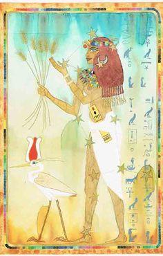 Virgo – An Egyptian Zodiac (From 15e Dynasty revisited)  Datum : 23 augustus – 22 september  Design: Kantaro, mixed media on paper , 42 x 60 cm, 1992 Postkaart www.postersquare.com