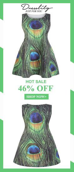 1a2e9aabb23 Digital Print Sleeveless Round Neck Peacock Feather Dress.Extra 12% off  code DL123  dresslily
