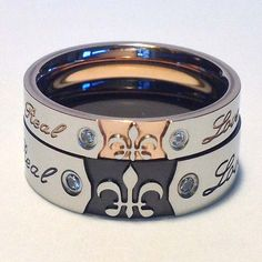 Hey, I found this really awesome Etsy listing at https://www.etsy.com/listing/191956677/his-and-her-rings-fleur-de-lis-ring