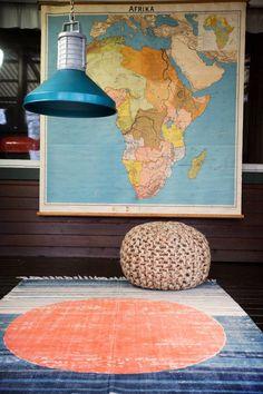 "Vloerkleed katoen print cirkel oranje blauw 180x120cm, ""printed rug orange circle"" - STBR WEBSHOP   STOREBROR"